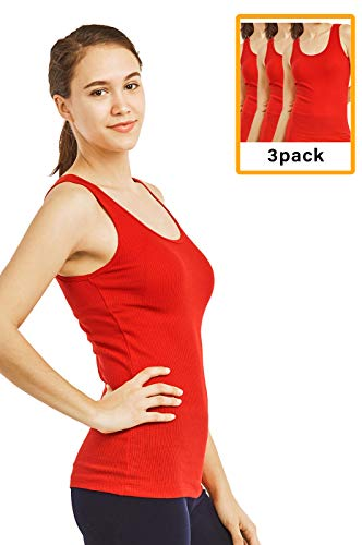Women's Cotton Ribbed Tank Top (3 Pack) (M, - Ribbed Womens Red Soft