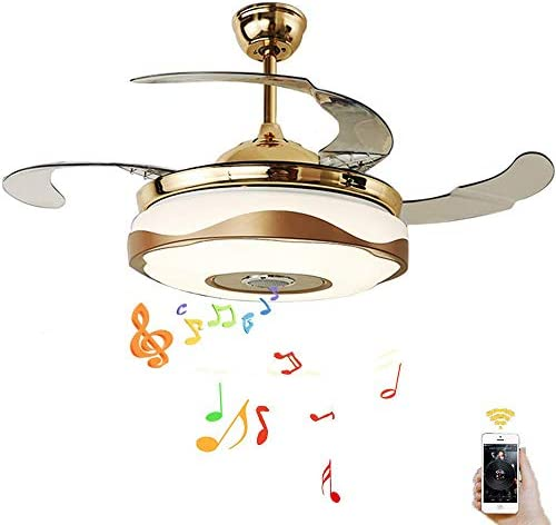Kankanlei 42 Bluetooth Chandelier Ceiling Fan Light with Remote, LED Fan Chandelier with 7-Color Dimming and Retractable Blades Decorative Lighting for Living Room 42in-Gold