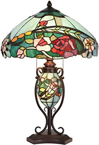 Bieye L10738 Rose Flower Tiffany Style Stained Glass Table Lamp with 16-inch Wide Lampshade Lighted Base, 24-inch Tall