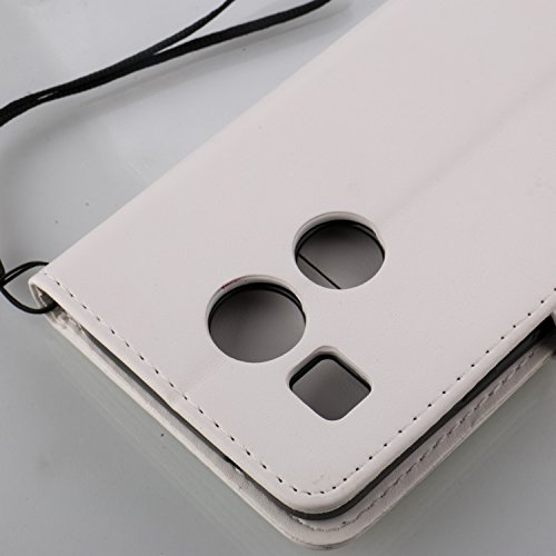 Funda LG Nexus 5X OuDu Carcasa de Billetera Funda PU Cuero Carcasa Suave Protectora con Correas de Teléfono Funda Arbol Flip Wallet Case Cover Bumper Carcasa Flexible Ligero Ultra Delgado Caja Anti Ra Blanco