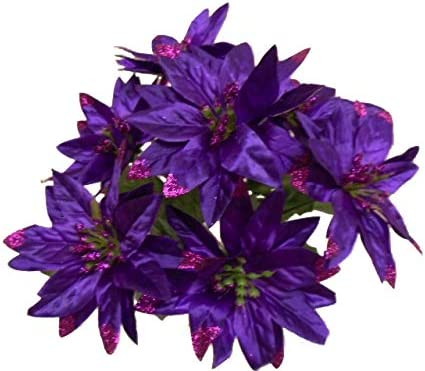 Amazon Com 4 Bushes Purple Christmas Glitters Poinsettia Artificial Silk Flowers 12 Bouquet 7 2209 Pu Home Kitchen