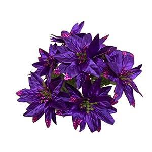 "4 Bushes PURPLE Christmas Glitters Poinsettia Artificial Silk Flower 12"" Bouquet 7-2209 PU 32"