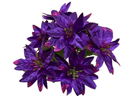 4 Bushes PURPLE Christmas Glitters Poinsettia Artificial Silk Flower 12