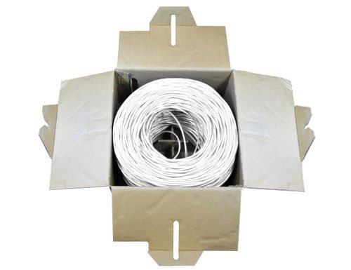 Sewell Direct SW-29899 SolidRun Cat6 Bulk Cable, UTP, cm, 23 AWG, High Copper Content CCA, White PVC Jacket, 1000 ft. 4 Compact Pull Box of 250FT/76m CAT6 250MHz Supports 1Gbps transfer rates Solid 23 AWG, 4 Twisted Pairs (UTP)