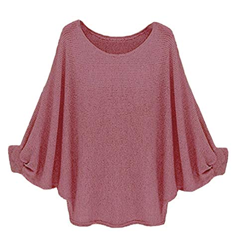 ing Sleeve Loose Blouse T Shirt Casual Pullover Top Purple Red X-Large ()