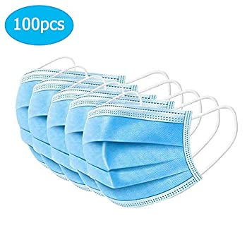 100 Pcs Disposable Earloop Face Maeks Restsynergy,3-ply Breathable Cover Duty Upgrade Mouth Covers Blue First Aid Health and Household Health Care Masks