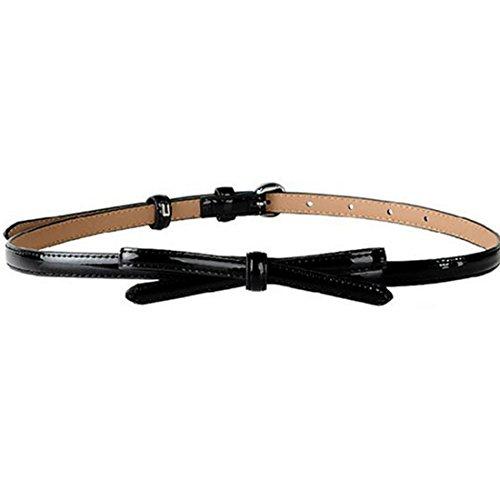 Ladies Slim Belt - Faux Leather Small Bow Decoration Thin Belts Women'S Casual Slim Belts Black