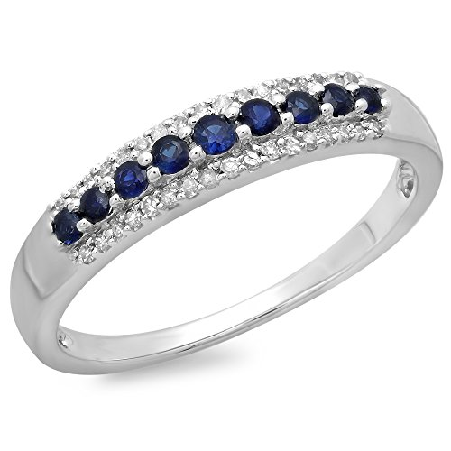 (Dazzlingrock Collection 10K Round Blue Sapphire & White Diamond Ladies Wedding Band Stackable Ring, White Gold, Size 6)