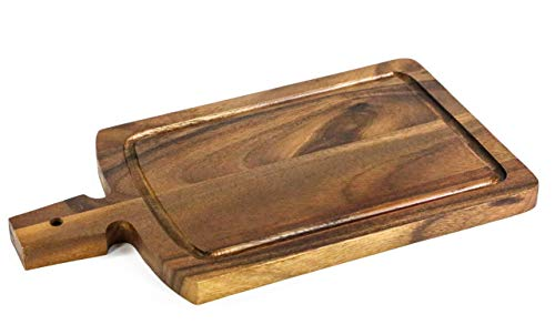 Kevin Home Acacia Wood Cutting Board with Handles (15 x 8.4 Inches), Large Wooden Chopping, Carving Board, Serving Rustic Paddle for Bread, Cheese, Steak and Pizza