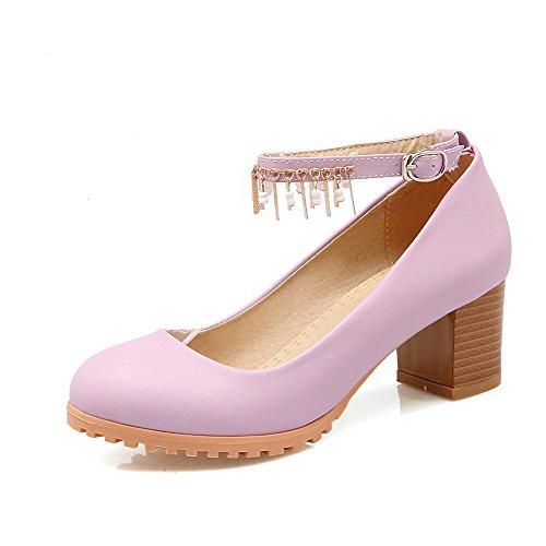 VogueZone009 Damen Mittler Absatz Schnalle Weiches Material Rund Zehe Pumps Schuhe Lila