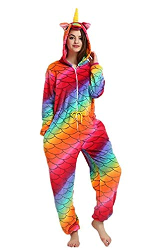 Women's Sleepwear Adult Unicorn Onesie Onepiece Pajamas Kids Halloween Animal Outfit Christmas (Adult#XL fit for Height -