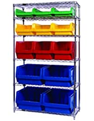 Bin System With 5 Shelves And 8 Black Bins 19 3 4 L X 18 3 8 W X 11 7 8 H 1 System