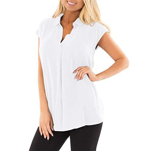 Couleur Chemise sans Branch Cou Debardeur Femme Large Fille V Taille Shirt Blanc Et Tops Grande Elgante Unie Blouse Manches Et Dcontract Classique 5Xwvq57