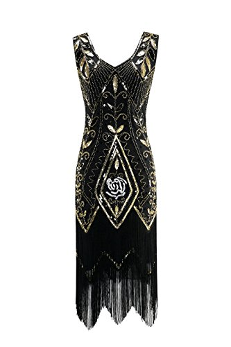 Metme Women's 1920s Vintage Flapper Fringe Beaded Great Gatsby Party Dress, Black, X-Large]()