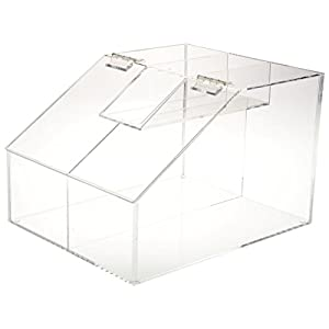 Displays2go CANB250DD Countertop Scoop Bin Dual Compartments for Candy or Food Hinged Lid