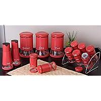 Pinkev 13 Parça Kırmızı Renk Cam Baharatlık Seti