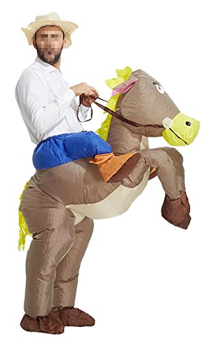 Ameyda Adults Kids Inflatable Cowboy Riding Horse Halloween (Horse Riding Costume)