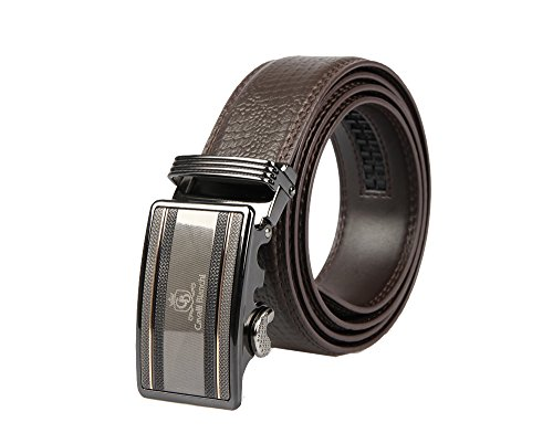 Cavalli Bianchi Designer Dress Belt for Men with Classic Buckle | Genuine Leather | Luxury Fashion for Business Suits and Pants | Modern Style #2 (Brown Designer Belts)