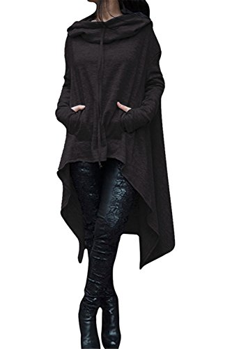 FANTIGO Womens Kangaroo Pockets Loose Hoodie Sweatshirt Coat Black XXL