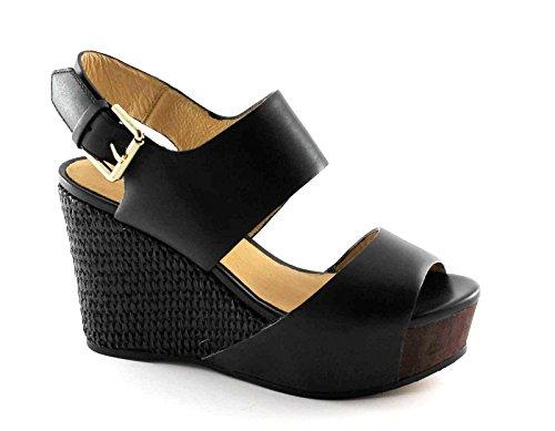 CAF NOIR HD122 schwarz Keil Sandalen Frauen Leder Schnallenriemen 39