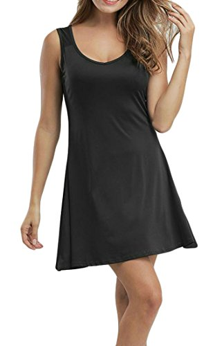 Solid Dress Black Sundresses A Short Sleeveless Neck Cromoncent V Women's Casual Line Color 7qwCPnxEf
