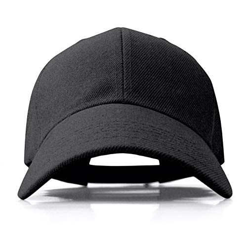 Baseball Cap for Men Women Adjustable Blank Curved Visor Hat Black ()
