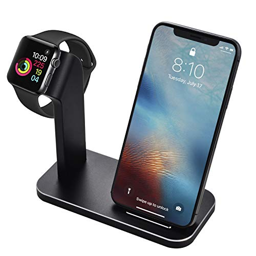 BNCHI 2 in 1 Aluminum Alloy Phone Wireless Charger Stand & Charging Station Compatible iWatch Holder Series 4/3/2/1/iPhone X/Xs/Xs MAX/8 Plus/8 (Matte Black)