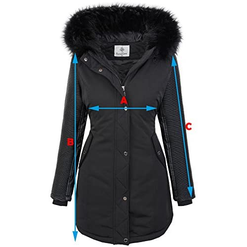 Rock Creek Damen Winter Jacke Parka Bikerjacke Winter Mantel D 347