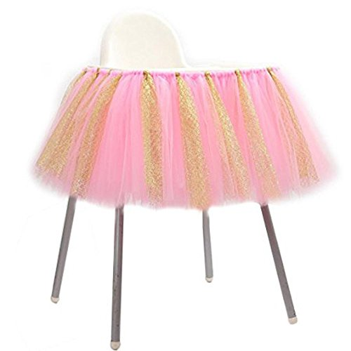 URSMART Creative Handmade Glitter Soft Tulle Tutu Skirt High Chair Decoration for Baby Birthday Party Baby Shower