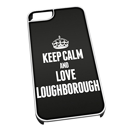 Bianco cover per iPhone 5/5S 0396nero Keep Calm and Love Loughborough