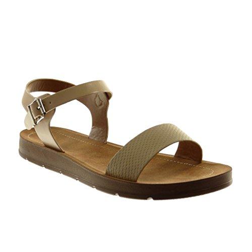 Angkorly Damen Schuhe Sandalen - Knöchelriemen - String Tanga - Schlangenhaut Keilabsatz 2 cm Beige