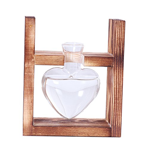 Jili Online Love Heart Shaped Glass Vases in Wooden Rack Stand Window-Sill Display Crystal Clear Flower Vase Decorative Centerpieces for Wedding Banquet - As picture show, ​1 Beakers