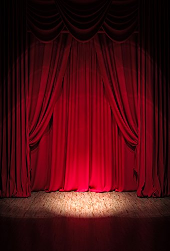 3x5FT Laeacco Vinyl Thin Backdrop Photography Background Luxurious Red Curtain Stage Show Lighting Scene Theme Backdrop Background Photo Studio Props 1(w) x1.5(h) m from Laeacco