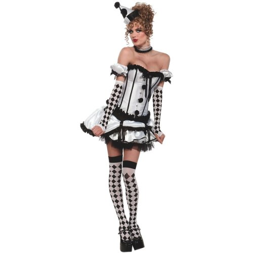 Secret Wishes Women's Deluxe Harlequin Corset Costume, Black/White, X-Small]()