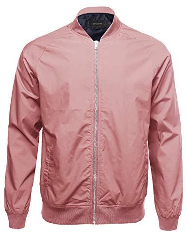 Classic Basic Style Zip Up Long Sleeves Bomber Jacket Dusty Rose Size 2XL