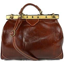Bolso mujer de cuero doctor bag bolso doctor en piel bolso de mano bolso de espalda de cuero bandolera en piel marron