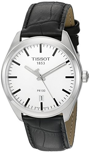 - Tissot Men's 'Pr 100' Swiss Quartz Stainless Steel and Leather Dress Watch, Color Black (Model: T1014101603100)