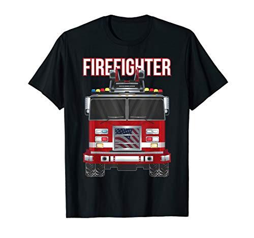 American Firefighter Boys Fire Department Truck Fireman T-Shirt ()
