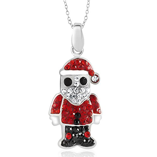 Christmas Holiday Crystal Pendant Necklaces Giftboxed (Santa Claus) Beverly Hills Gold Jewelry