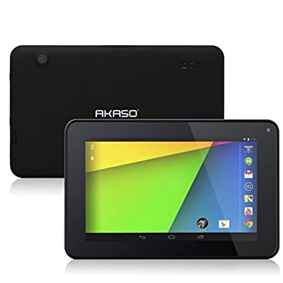 AKASO Kingpad® A7 7'' [Black] Google Android 4.2 Jelly Bean Dual Core Tablet PC, Allwinner A20 Dual Core Cortex A7 CPU, 8GB HDD, 1024x600 Resolution, Multi-Touch Screen, Front Camera + Rear Camera, Google Play Pre-Installed, HDMI 2160P Output, Skype Video