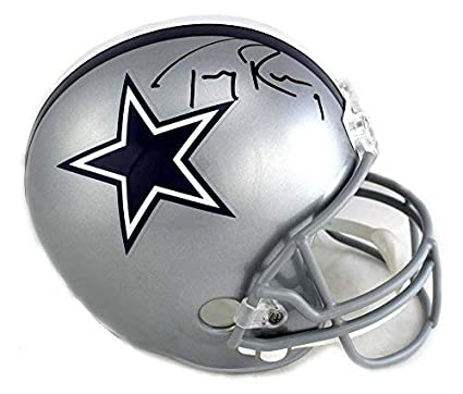 1e833340fb4 Image Unavailable. Image not available for. Color: Tony Romo Autographed/Signed  Dallas Cowboys Riddell Full Size NFL Helmet