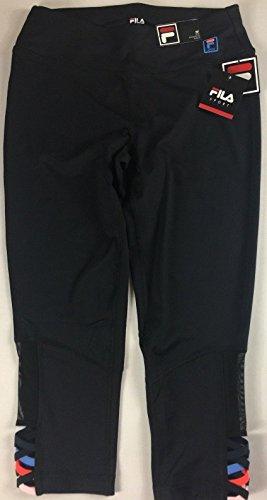Fila Capri Tights - Fila Sport Capri Leggings Womens SZ S/M Black Colorful Crop 28 x 21 Actual Yoga