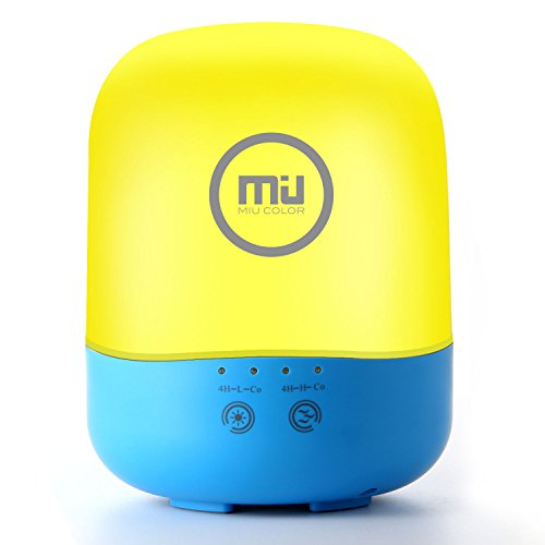 Night Light, Ultrasonic Aromatherapy Diffuser and Humidifier, Touch Control, Adjustable Brightness and Light Color, Timed and Auto Shut off Settings, Cute Yellow and Blue Design by MIU - Miu Price Miu