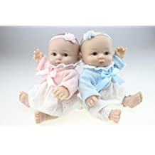 """TERABITHIA Miniature 10"""" Fashionable lovely Real Life Reborn Baby Dolls Silicone Full Body Twins"""