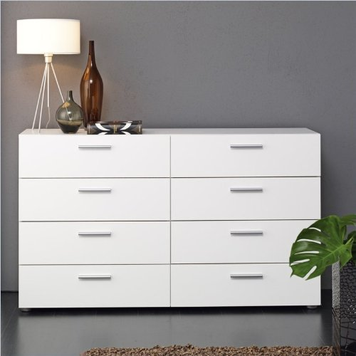 Atlin Designs Modern 8 Drawer Double Dresser with Metal Handles in White ()