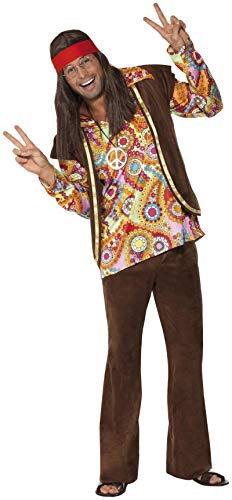 - Smiffys Men's Psychedelic 1960's Hippy Costume, Shirt, pants and Waistcoat, 60's Groovy Baby, Serious Fun, Size L, 34064