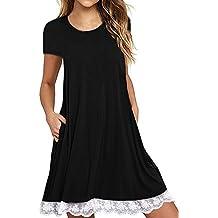 Our Precious Women's Short Sleeve Pockets Loose T-Shirt Dress Casual Swing Lace Summer Dress