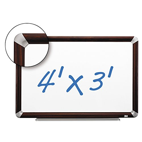 Whiteboard Frame Mahogany - 3M Porcelain Dry Erase Board, 48 x 36-Inches, Full Mahogany-Finish Frame