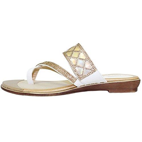 Sapphire Boutique by Sapphire Zafiro Boutique @ jlh910 Aisha Plantilla Acolchada Tira Cruzada Zapatos Sin Talón Piel Sintética Gema Sandalias Blanco