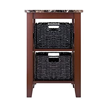 Winsome Wood Faux Marble Top Zoey Side Table with 2 Baskets